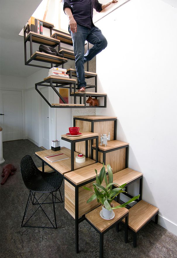 staircase shelf desk