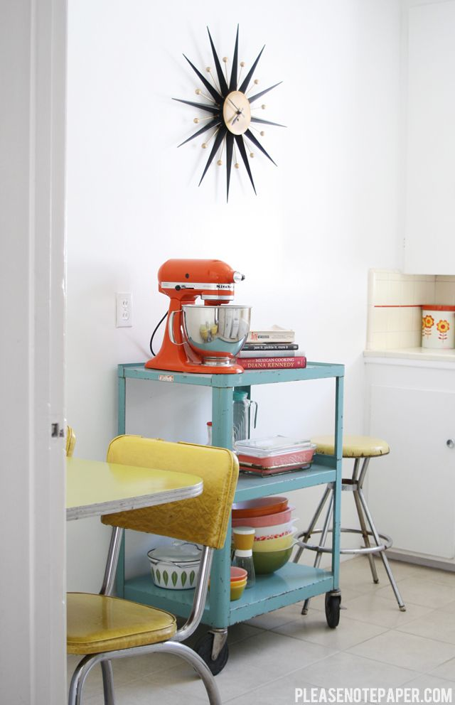 Wheeled kitchen cart to save space