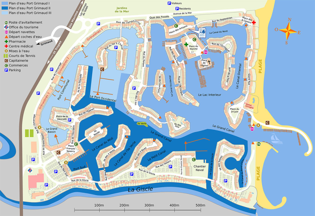 Carte de Port Grimaud avec ses 3 quartiers