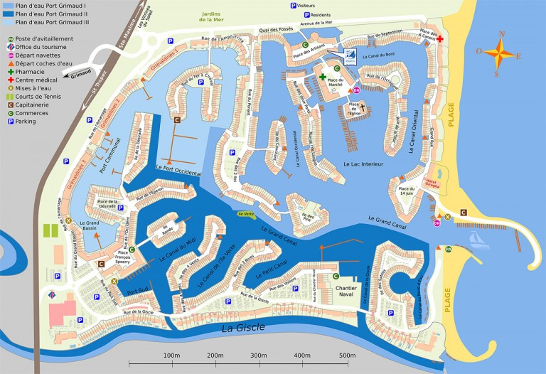 Detailed map of Port Grimaud so you can easily find your rental