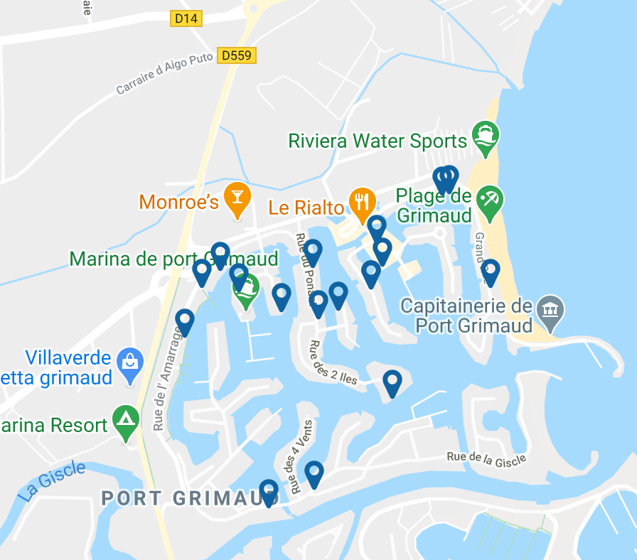 Map-holiday-rentals-Port Grimaud